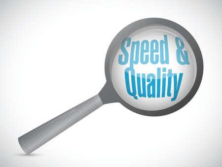 snelheid en kwaliteit vergroot glas teken illustratie ontwerp op een witte