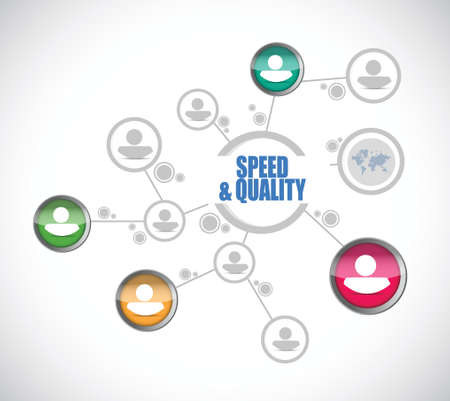 speed and quality people diagram sign illustration design over white Ilustracja
