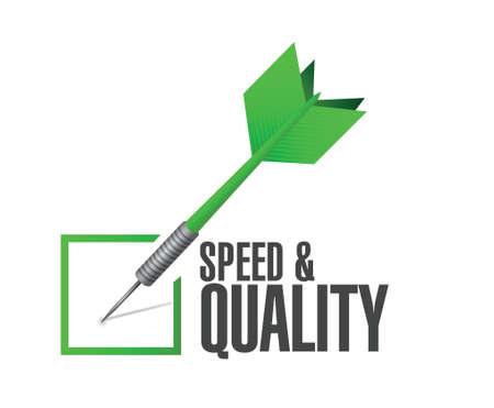 snelheid en kwaliteit check dart teken illustratie ontwerp op wit