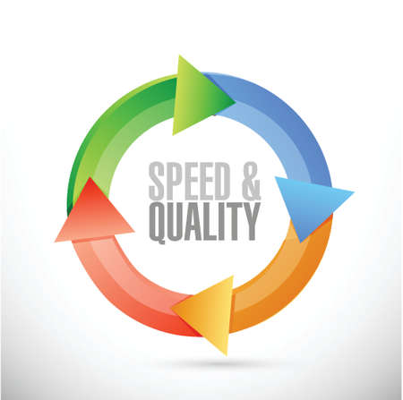 speed and quality cycle sign illustration design over white Stock Illustratie