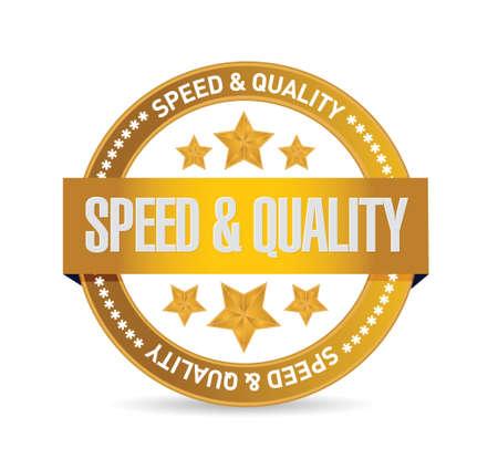snelheid en kwaliteit teken verbinding illustratie ontwerp op wit
