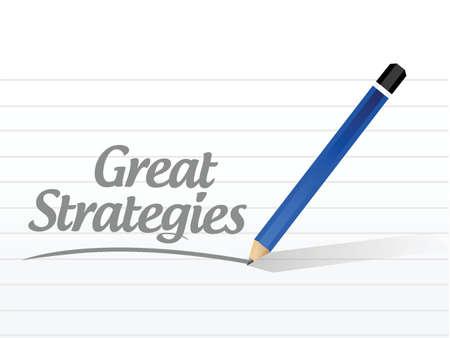좋은 전략 메시지 서명 그림 디자인 흰색 배경 위에
