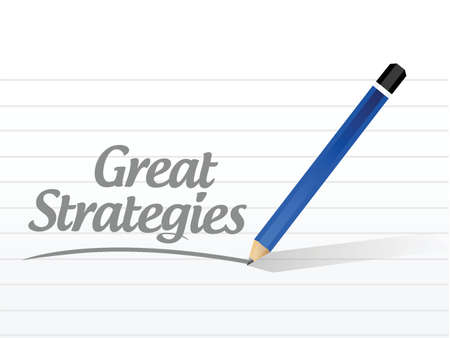 assert: great strategies message sign illustration design over a white background