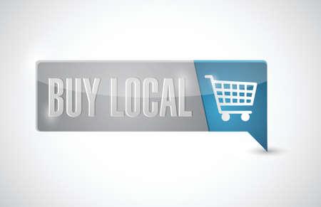 quality regional: buy local button illustration design over white Illustration