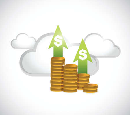 monetary graph and cloud computing illustration design over white
