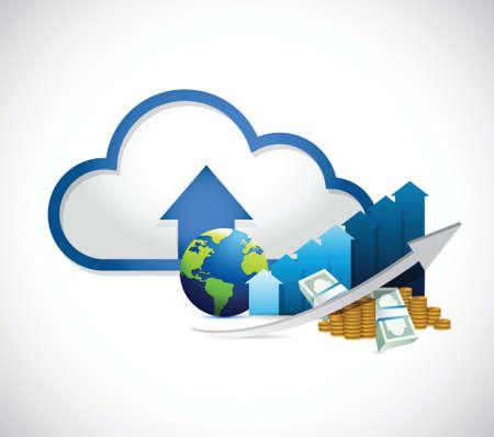 international globe graph and cloud computing illustration design over white