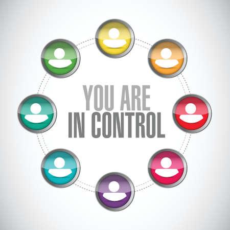 당신은 통제 사람들이 다이어그램 기호 개념 일러스트 레이션 디자인 그래픽 일러스트