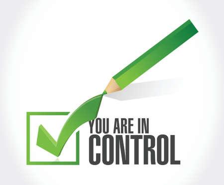 u bent in controle goedkeuring teken concept illustratie grafisch