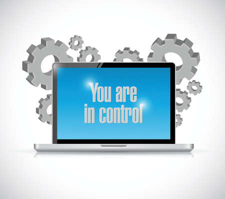 moving forward: you are in control computer technology sign concept illustration design graphic