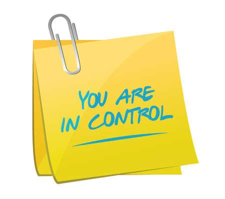 Usted está en control memo signo posterior Ilustración del concepto de diseño gráfico Foto de archivo - 38453100