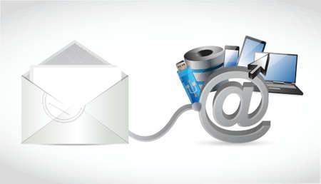 electronics connection email wifi communication concept. illustration design