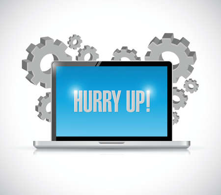 hurry up: hurry up computer sign illustration design over white