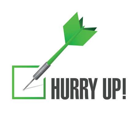 hurry up: hurry up check dart sign illustration design over white Illustration