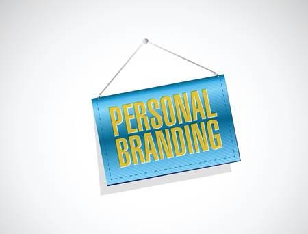 trusted: personal branding banner sign illustration design over white Illustration