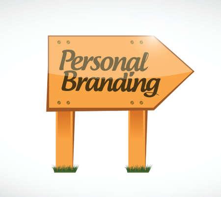 trusted: personal branding wood sign illustration design over white Illustration