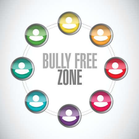 intimidation: bully free zone people community sign concept illustration design over white