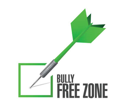 intimidation: bully free zone check mark sign concept illustration design over white Illustration