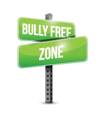 disrespect: bully free zone street sign concept illustration design over white