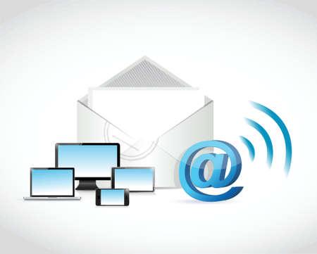 Technologie Kommunikationsverbindung Illustration, Design in weiß Standard-Bild - 38453594