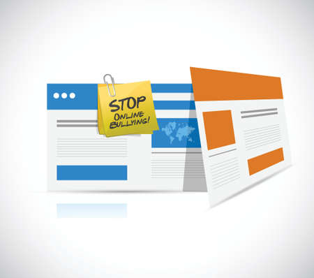 intimidation: online bullying technology warning concept illustration design