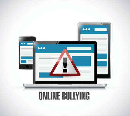 intimidating: online bullying web warning concept illustration design Illustration