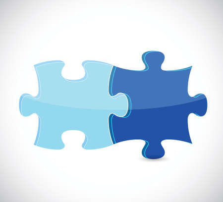 add icon: blue puzzle pieces illustration design over white Illustration