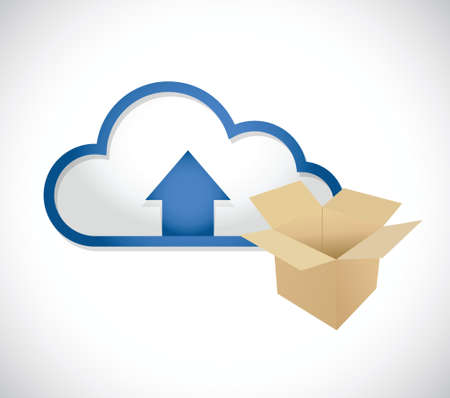 cloud computing content upload concept illustration design over white