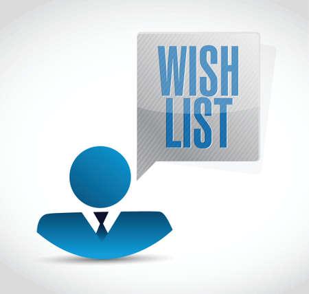 wishlist: wish list avatar sign concept illustration design over white