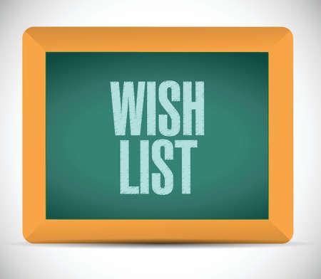 wishlist: wish list board sign concept illustration design over white Illustration