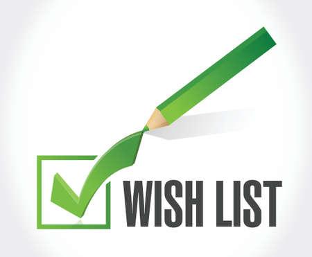 wishlist: wish list check mark sign concept illustration design over white