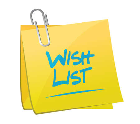 memo: wish list memo post sign concept illustration design over white Illustration