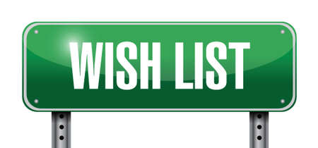 post scripts: wish list metallic sign concept illustration design over white