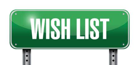 wish list: wish list metallic sign concept illustration design over white