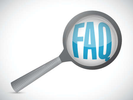 reflection: faq magnify glass sign illustration design over white Illustration