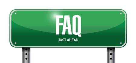 faq street sign illustration design over white