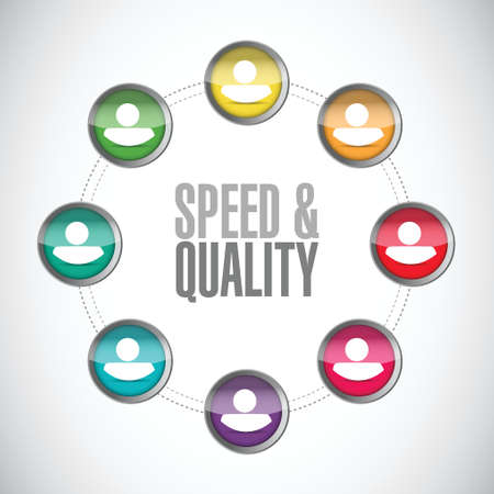 high speed: speed and quality people diagram sign illustration design over white Illustration