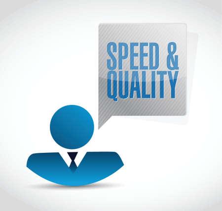 snelheid en kwaliteit avatar teken illustratie ontwerp op wit
