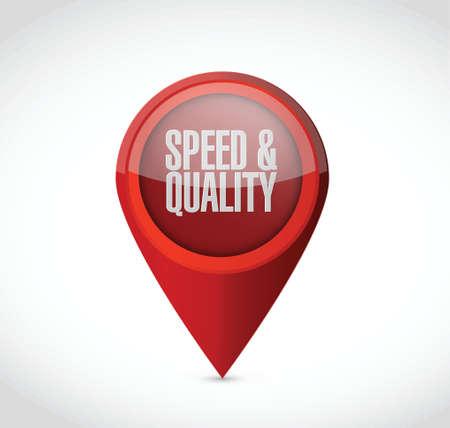 snelheid en kwaliteit wijzer teken illustratie ontwerp op een witte Stock Illustratie