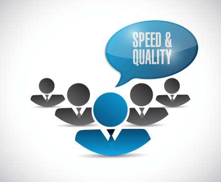 snelheid en kwaliteit van de mensen ondertekenen illustratie ontwerp op wit Stock Illustratie