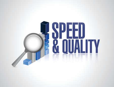 snelheid en kwaliteit zakelijke grafiek teken illustratie ontwerp op wit