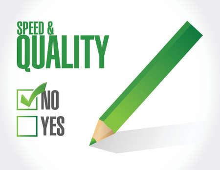 geen snelheid en kwaliteit teken illustratie ontwerp op wit