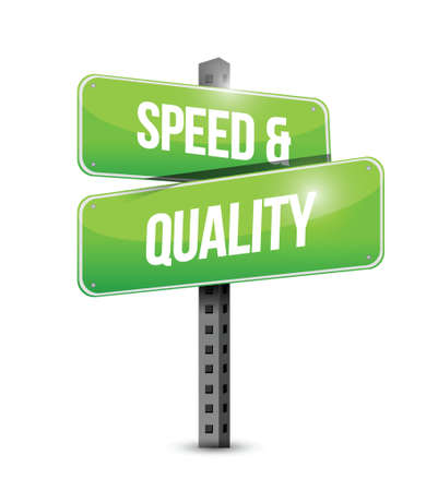 ホワイト上の速度と品質の道路標識イラスト デザイン  イラスト・ベクター素材