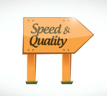 snelheid en kwaliteit houten teken illustratie ontwerp op wit Stock Illustratie