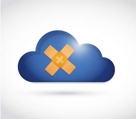 failed: cloud band aid fix solution concept illustration design over white background Stock Photo