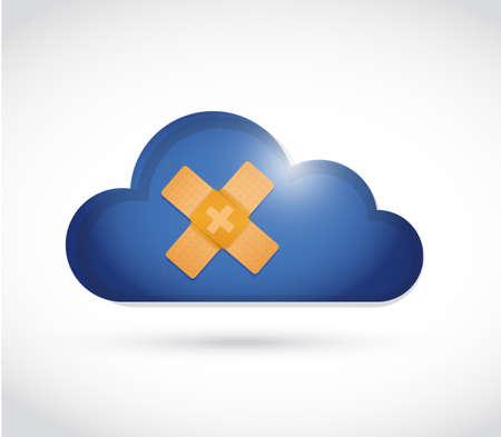 wolk band hulp fix oplossing concept illustratie ontwerp op een witte achtergrond