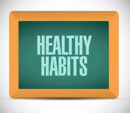 moderation: healthy habits board sign concept illustration design over white