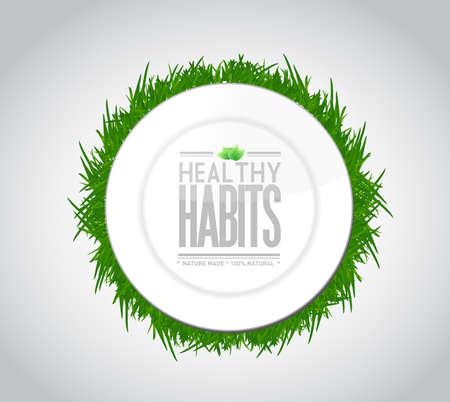 habitos saludables: hábitos saludables concepto ilustración signo placa de diseño sobre blanco