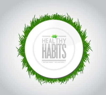 free plate: healthy habits plate sign concept illustration design over white Stock Photo