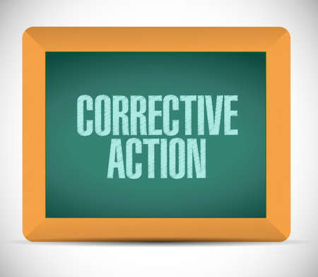 corrective: corrective action board sign illustration design over white background