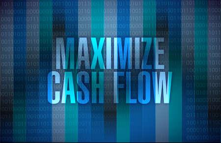 maximaliseren cashflow binaire teken illustratie ontwerp op een binaire achtergrond